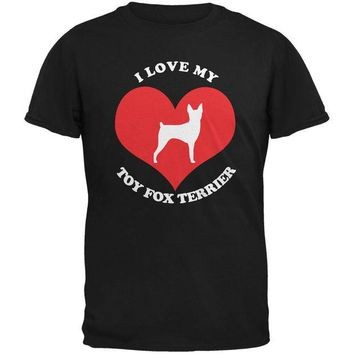 DCCKJY1 Valentines I Love My Toy Fox Terrier Black Adult T-Shirt