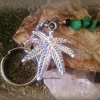 Marijuana Leaf Key Ring,Pot Leaf Accessory,Cool Car Accessory,Weed Key Ring,Pot Leaf KeyChain,Weed Accessories,Chakra,Adventurine Gemstone,