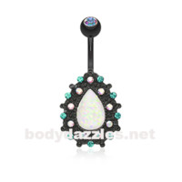 Black Colorline Eirene Sparkling Opal Belly Button Ring 14ga Navel Ring Body Jewelry