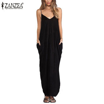 Zanzea 2016 Summer Women Boho Sexy V Neck Sleeveless Beach Dresses Ladies Casual Loose Long Maxi Solid White Dress Vestidos