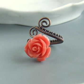 Coral red ring rose copper ring antiqued romantic ring rustic handmade Valentine jewelry