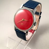 "Minimalist Vintage Soviet men's watch called ""VICTORY""( Pobeda),plain red dial, comes with high quality new leather band!"