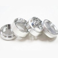 Tiny 1.2 Inch Silver Metal Herb Grinder and Tobacco Grinder 4 Piece Magnetic Crusher Premium Quality Aluminium