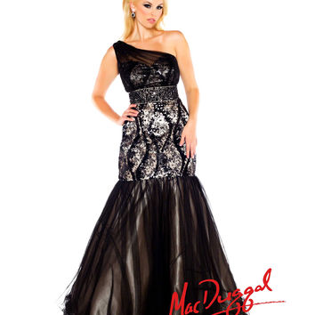 Mac Duggal 2014 Plus Size Prom Dresses - Black & Nude Sequin & Lace One Shoulder Mermaid Gown