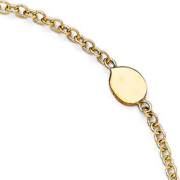 14k Yellow Gold Polished Anklet