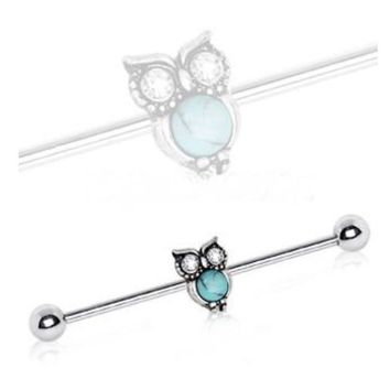 316L Stainless Steel turquoise owl design Industrial Barbell with an