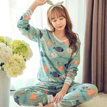 HOt Sale 2016 Autumn & Winter Cotton Pyjamas Women Girl Pajama Sets Cartoon Sleepwear Pajamas for women Long-Sleeved Tracksuit
