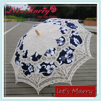 Vintage Blue Flower Lace Embroidery Umbrella Cotton Battenburg Wedding Bridal Umbrella Parasol Umbrella Decoration Free Shipping