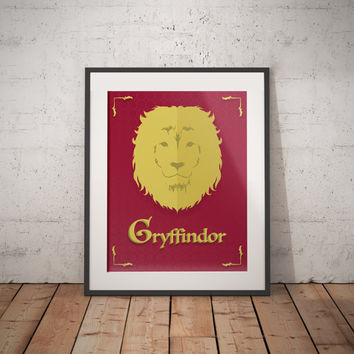 Gryffindor Poster - Gryffindor Print - Harry Potter Poster - Harry Potter Wall Art - Hogwarts House Decor - Harry Potter Gift - Book Decor