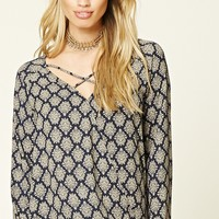 Damask Crisscross Surplice Top
