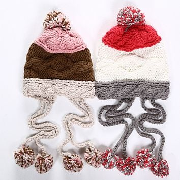 Cute Casual Multicolor Tassel Hairball Manual Knit Beanie Hat Winter Accessories