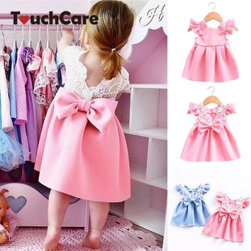 Backless Lace Bow Princess Dresses Baby Girl Child Wedding Evening Party Elsa Dresses Toddler Girl Dresses Bohemian Ball Gown