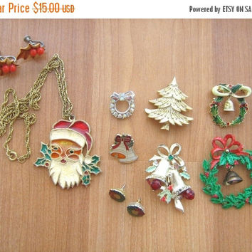 SALE Christmas jewelry 9 in lot necklace, brooches, earrings