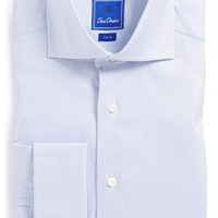 Men's David Donahue Trim Fit Royal Oxford Check French Cuff Dress Shirt, Size 16.5 - 32/33 - Blue