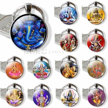 Lucky Indian Elephant Head God Ganesh Keychain Jewelry Glass Dome Cabochon Pendant Key Chain Ring Amulet Family Charm Gift