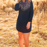 You're Not Alone Dress: Navy