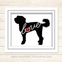 INSTANT DOWNLOAD: Labradoodle / Golden Doodle Love - Silhouette, Digital, Dog, Breeds, Gift, Wall Art, Artwork, Printable, Christmas, Gift