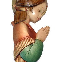 Praying Girl Wall Hanging . Serene Girl Mid Century Modern Painted Wall Plaque . Plaster Chalkware .