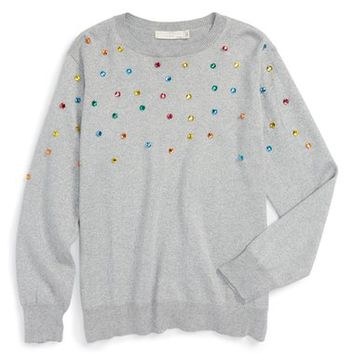 Stella McCartney Kids 'Jade' Jewel Embellished Sweater (Little Girls & Big Girls) | Nordstrom