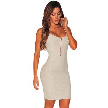 Grey Ribbed Zipper Tank Dress