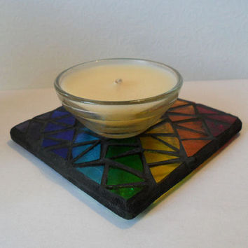 Stained Glass Rainbow Mosaic Coaster, Mug Stand,  Stained Glass Mosiac Candle Stand