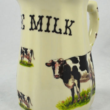 "8"" Staffordshire Pure Milk Ironstone Advertising Dairy Pitcher with Cows / Cattle"