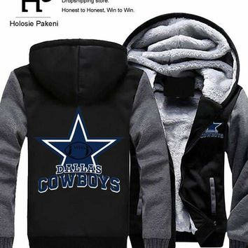Men Women Steelers Broncos Cowboys Hoodies Zipper Sweatshirts Jacket Printed Winter Thicken Hooded Coat