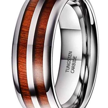CERTIFIED 8MM NATURE Domed Double Rosewood Wood Inlay Tungsten Carbide Ring