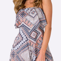 Multicolor Printed Backless Layered Playsuit