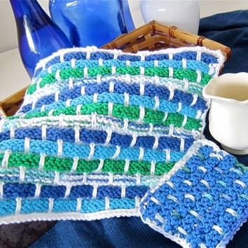 Hand knit dish cloth wash cloth kitchen spa bath scrubber blue cobalt lapis emerald green teal turquoise organic cotton FREE SHIPPING USA