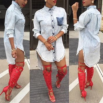 High Quality Women's Blouses Jeans Shirt 2016 Spring Denim Shirts Pockets Top Women's Clothing Large Size Clubwear Jeanswear