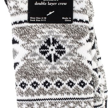 Double Layer Cabin Crew Socks-Black/Grey