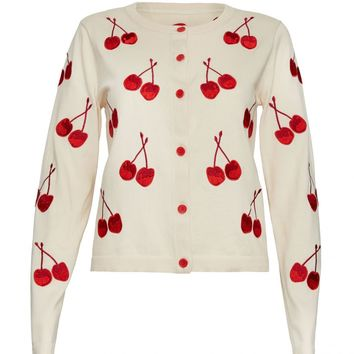alice + olivia | EMBROIDERED CHERRY CARDIGAN
