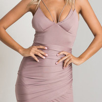 Pink V-Neck Backless Bodycon Mini Dress
