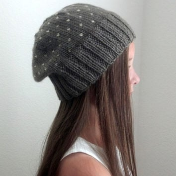 Knit beanie slouchy hat - TAUPE / BEIGE (more colors available - made to order)
