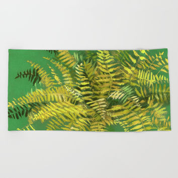Golden Fern, floral art, green and yellow Beach Towel by Clipso-Callipso