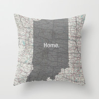 Indiana: my home. Throw Pillow by Elle Benway