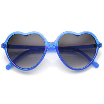 Cute Womens Transparent Candy Color Heart Shape Sunglasses 9147