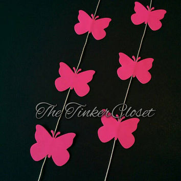 Bright pink butterfly garland, butterfly garland, pink butterfly, wedding garland, birthday decor, wedding decor, butterfly decor, pink