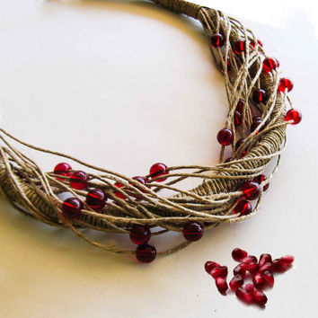Ruby Red Bead Necklace, Multi Strand Hemp Necklace, Eco Friendly, Boho Chic Collar Necklace, Bird Nest Fiber Necklace, Gift under 30