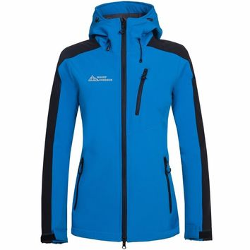 Women Hiking Jacket Softshell Fleece Jacket Windproof Waterproof Outdoor Sport Wear Riding Camping Female Jacket Clothing