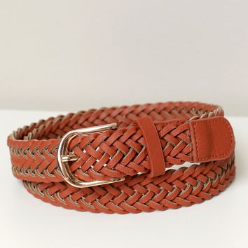 Woven Buckle Belt Chestnut