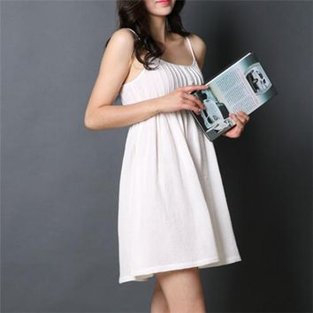RenYvtil Summer New Sleep Lounge White Home Dress Sexy Princess Nightgown Sleeveless Cotton Vintage Sleepwear Camisao Nightdress