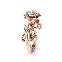 Rose Gold Engagement Ring Solitaire Diamond Ring Leaf Engagement Ring