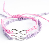 Infinity Friendship Bracelets Lavender and Pink