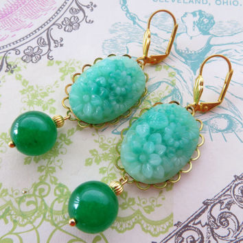 Vintage faux jade earrings, green jade earrings, carved cabochon earrings, uk gemstone jewelry, antique style jewellery, italian design