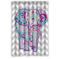 "Chevron Colorful Floral Aztec Elephant Waterproof Bathroom Fabric Shower Curtain,Bathroom decor 48"" x 72"""