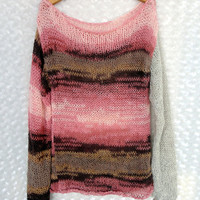 Women's Knitwear Sweater Wool Sweater Loose Sweater Women's Sweater in Pink and Brown Shades