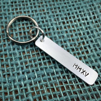 Class of 2015 Keychain - Roman Numeral Keychain - Handstamped MMXV Keyring - High School Graduation Gift for Him - Graduate Gift for Her