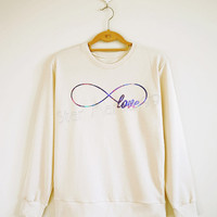 Galaxy Infinity Love TShirt Forever Love Shirt Infinity Galaxy Sweater Sweatshirt Jumpers Long Sleeve Women Shirt Unisex Shirt Size S,M,L